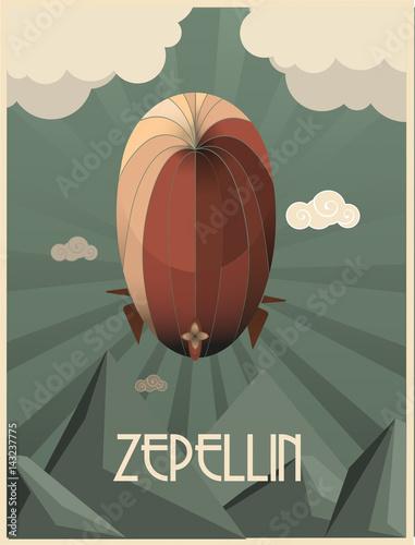 ilustración de un zeppelin al estilo arte deco Fototapete