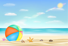 Beach Ball On A Sea Sand Beach...