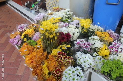 Bunches of Colorful Flowers for Sale in Hong Kong Poster