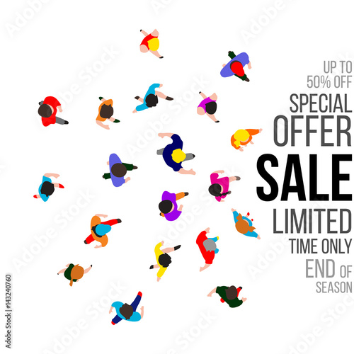 Top view people on sale event. Vector illustration. Wall mural