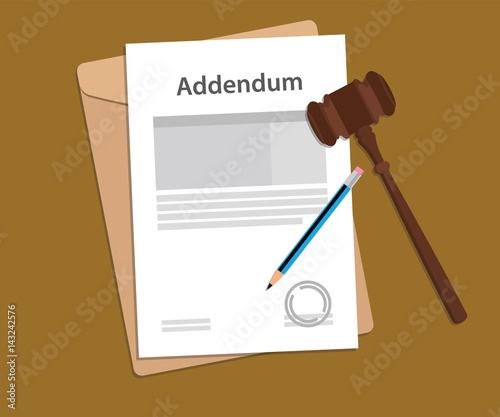 Photo addendum stamped letter illustration with judge hammer and folder document with