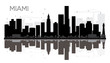 Miami City skyline black and white silhouette with reflections.