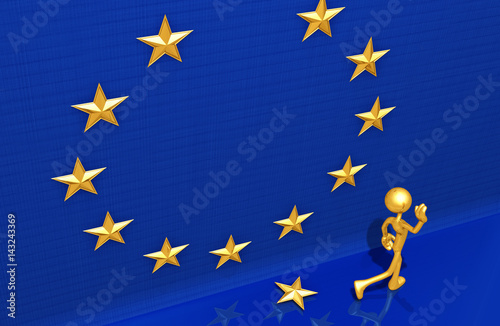 Fotografie, Obraz  Leaving The European Union The Original 3D Character Illustration