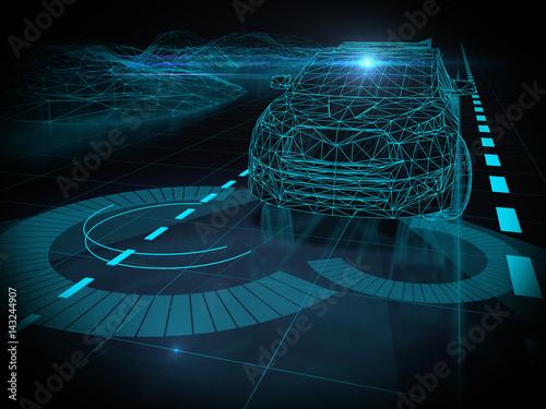 Obraz na płótnie Driver less autopilot vehicle with lidar technology