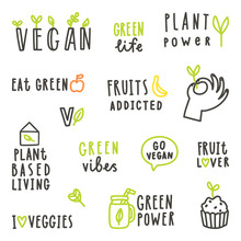 Set Of Vegan Text Signs. Vector Hand Drawn Lettering