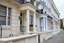 Close Up Of Typical Entrances To Residential London Buildings In Notting Hill