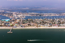 Fishing Pier Fort Myers Beach. Aerial View To The Large White Sandy Beach On The Estero Island, Florida