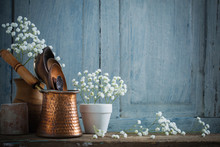 Kitchenware On The Old Wooden Background