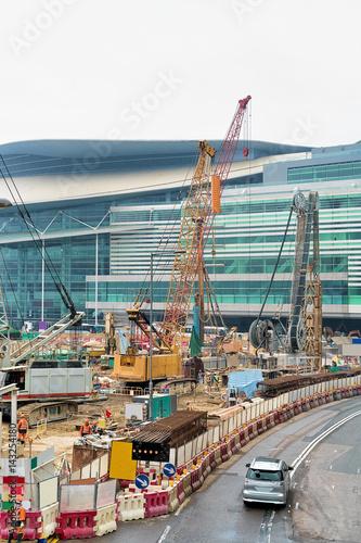 Foto op Plexiglas Development site with workers in center Hong Kong