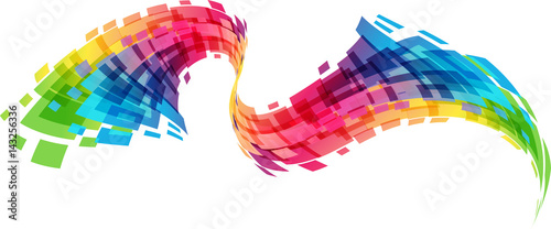 Photo sur Aluminium Abstract wave Abstract geometric colorful curve vector