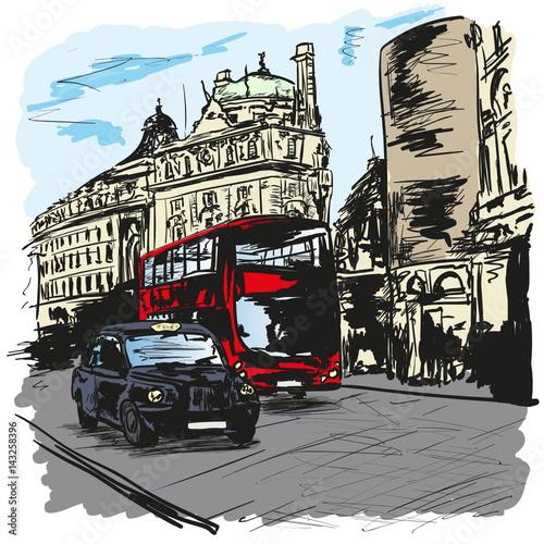 Obraz w ramie bus un taxi