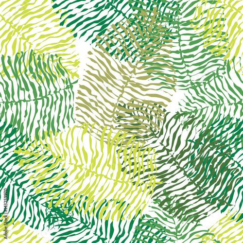 Ingelijste posters Tropische Bladeren Green vector seamless pattern.