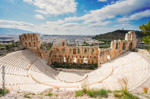 Poster Athens Herodes Atticus amphitheater of Acropolis, Athens, Greece