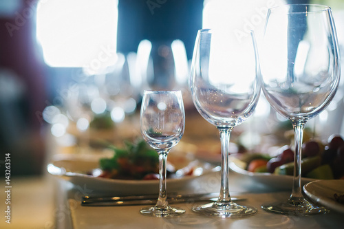 Glasses of different sizes on the table