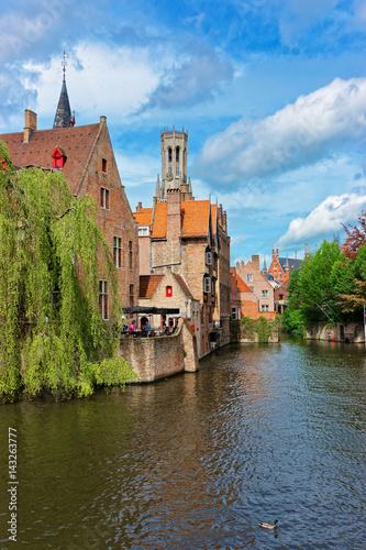 Poster Brugge Rozenhoedkaai canal in old town of Brugge