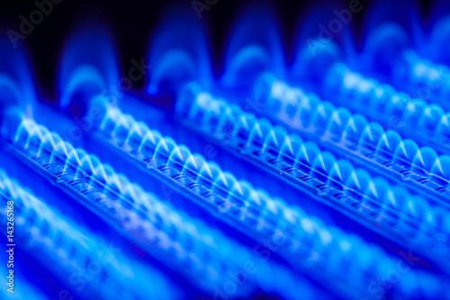 Fotografie, Obraz  Propane flame inside of gas boiler furnace