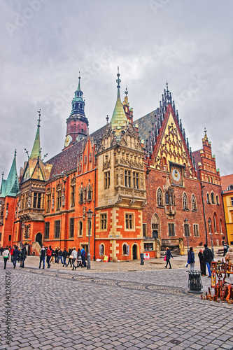 Wall Murals Bridges People at Old Town Hall in Market Square of Wroclaw