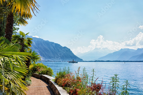 Nature with ship on Geneva Lake in Montreux, Switzerland Canvas Print