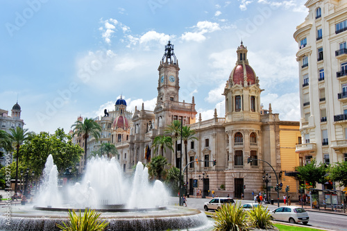Town Hall and Square with fountain in Valencia