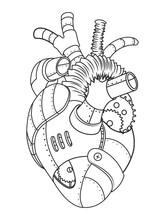Metal Heart Coloring Book Vector Illustration