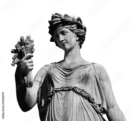 Tablou Canvas Classical roman or greek goddess statue (isolated on white background)