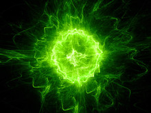 Green Glowing Fireball Lightning