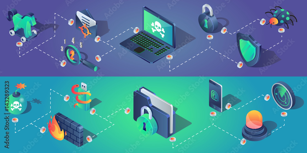 Fototapeta Cyber security horizontal banners with isometric icons