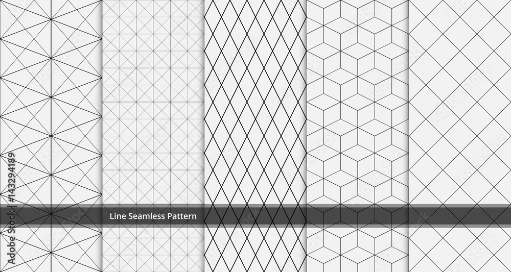 Fototapeta set of geometric line seamless pattern black and white colors. Geometric abstract background vector.