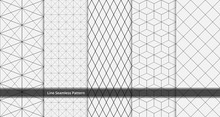 Set Of Geometric Line Seamless Pattern Black And White Colors. Geometric Abstract Background Vector.