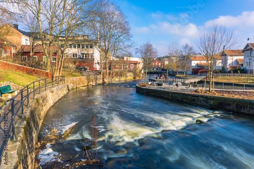 Recess Fitting Channel Norrtalje Sweden - April 1, 2017: Old town of Norrtalje, Sweden