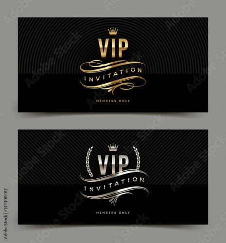 Fotografía  VIP golden and silver invitation template. Vector illustration.