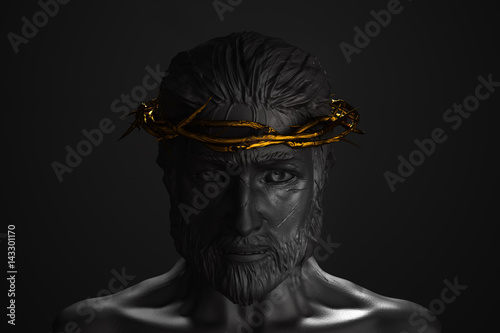 Fotografía Jesus Christ Statue with Gold Crown of Thorns 3D Rendering Front Side