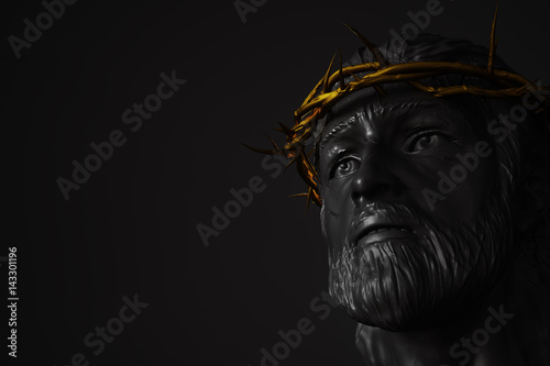 Tuinposter Boeddha Jesus Christ Statue with Gold Crown of Thorns 3D Rendering