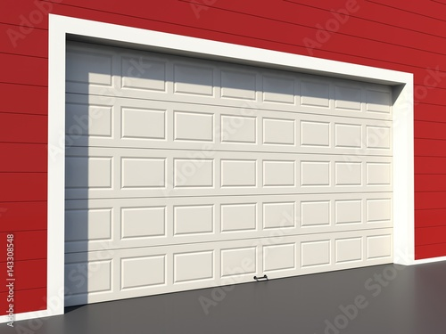 Modern White Garage Door On Red Wall Buy This Stock Illustration