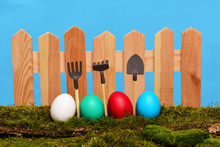 Painted Easter Eggs At Wooden ...