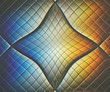 canvas print picture - The bright solar spectrum is reflected in the distorted numerous glass tiles