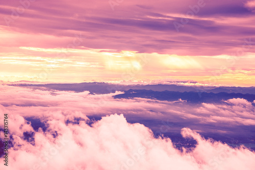 In de dag Candy roze High angle view. Cloud mountain sky. Evening light