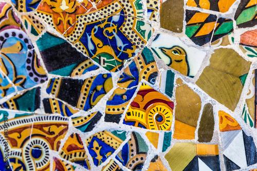 Foto auf Leinwand Barcelona Detail Of Mosaic - Park Guell, Barcelona, Spain