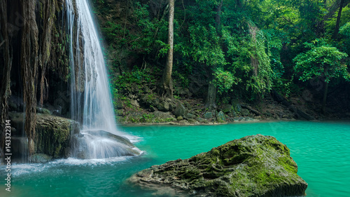 Foto auf Gartenposter Wasserfalle Green nature with green waterfall landscape, Erawan waterfall located Khanchanaburi Province, Thailand