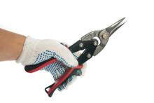 Metal Shears On White Background / Metal Shears, Close Up. Tools In Hand