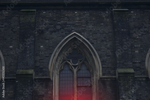 Photo  Detail View of a vintage Anglican church  window