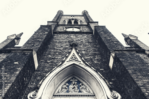 Detail View of a vintage Anglican church  window Canvas Print