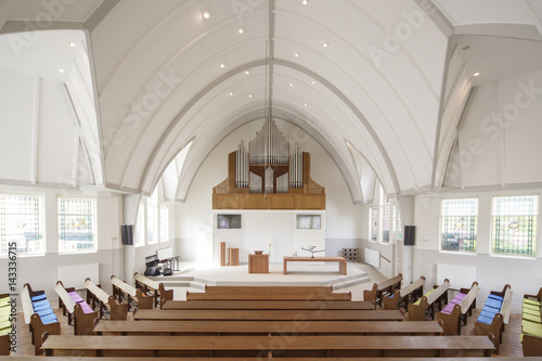 Modern interior of an old church in the Netherlands.