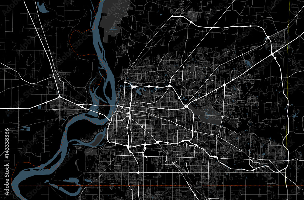 Fototapeta Black and white map of Memphis city. Tennessee Roads