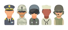 Set Icon Character Military People. Soldier, Officer, Pilot, Marine, Sailor, Trooper