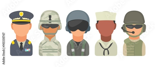 Slika na platnu Set icon character military people