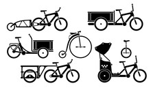Black And White Set Of Utility Bicycles And Tricycles Silhouette Icons. Vector Isolated Clipart