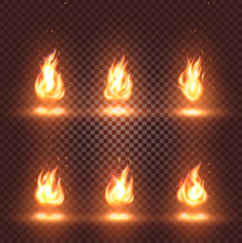 Isolated Abstract Realistic Fire Flame Images Set On Checkered Background, Bonfire Signs Collection On Dark Backdrop Vector Illustration