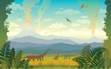 Fototapeta Dinusie - Prehistoric animals and landscape. Silhouette of dinos.