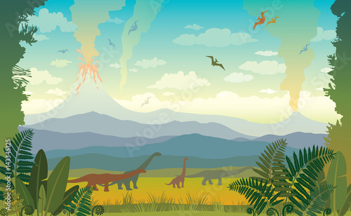 Prehistoric animals and landscape. Silhouette of dinos. Canvas Print